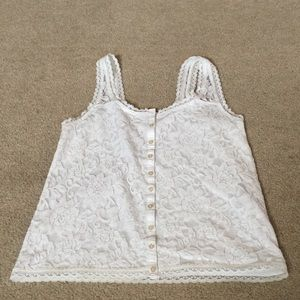 Hollister White Lace Overlay Button-Up Tank-XS